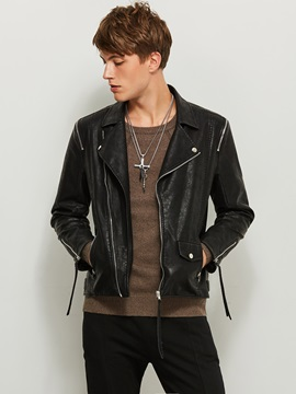 Tidebuy Black Notched Lapel Men's Short Leather Jacket
