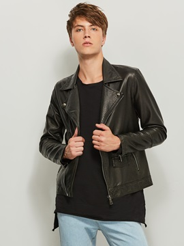 Notched Lapel Solid Color PU Slim Men's Jacket