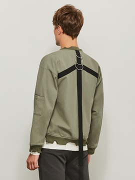Stand Collar Solid Color Long Sleeve Men's Jacket