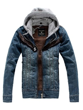 Denim Hooded Zipper Lapel Long Sleeve Warm Slim Men's Jacket