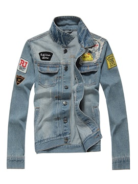 Holes Lapel Single-Breasted Denim Slim Men's Jacket