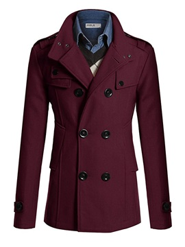 Medium Length Slim Stand Collar Double Breasted Men's Coat