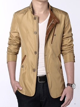 Stand Collar Solid Color Single-Breasted Slim Men's Jacket