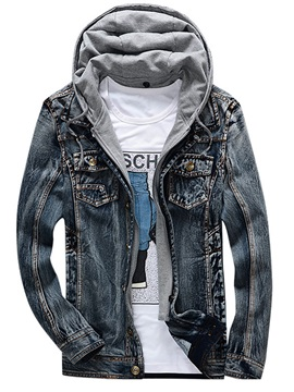 Hooded Zipper Patchwork Denim Men's Jackt