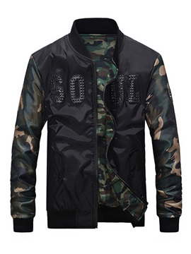 Stand Collar Camouflage Print Patchwork Men's Jacket