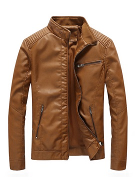 Stand Collar Solid Color Slim Leather Men's Jacket