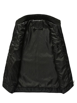 Plain Stand Collar Men's Leather Jacket