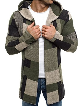 Hooded Patchwork Color Block Slim Fit Men's Casual Coat