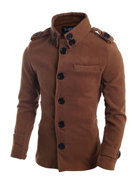 Lapel Solid Color Slim Single-Breasted Mid-Length Men's Coat