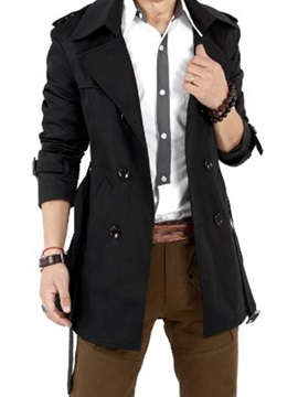 Notched Lapel Double-Breasted Solid Color Men's Trench Coat