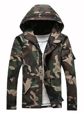 Hooded Camouflage Print Slim Men's Jacket