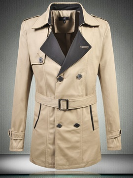 Notched Lapel Double-Breasted Slim Patchwork Men's Trench Coat