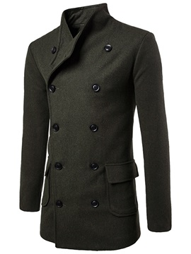 Stand Collar Double-Breasted Solid Color Slim Mid-Length Men's Woolen Coat
