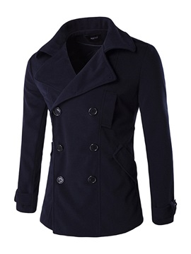 Notched Lapel Double-Breasted Slim Solid Color Men's Woolen Coat