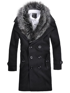 Double-Breasted Faux Fur Collar Mid-Length Men's Woolen Coat