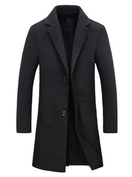 Mid-Length Solid Color Pockets Slim Men's Woolen Coat