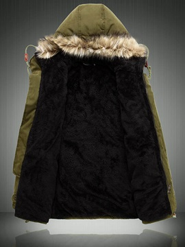 Fur Hooded Plain Men's Winter Coat