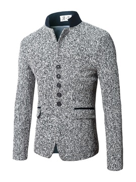 Stand Collar Single-Breasted Slim Men's Woolen Coat