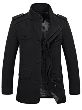 Stand Collar Pocket Solid Color Men's Trench Coat
