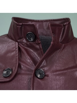 Tidebuy Stand Collar Solid Color Men's Winter Leather Coat