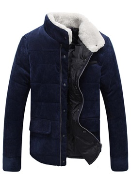 Tidebuy Stand Collar Solid Color Thick Men's Winter Jacket