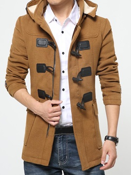 Hooded Slim Horn Button Slim Mid-Length Men's Coat