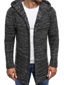 Mid-Length Hooded Slim Fit Men's Cardigan