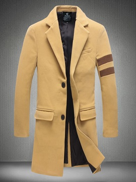 Tidebuy Notched Lapel Mid-Length Men's Trench Coat
