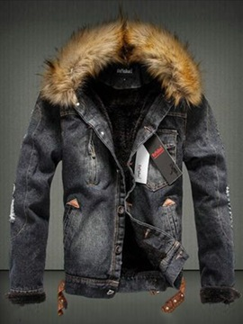 8ffb041f408 Tidebuy Faux Fur Hooded Button Men s Denim Jacket   Tidebuy.com