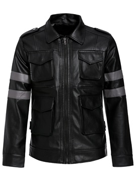 Black Lapel Pocket Zipper Men's Leather Jacket