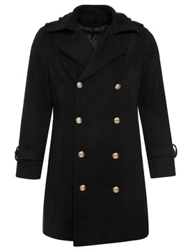 Lapel Black Plain Double-Breasted Men's Trench Coat