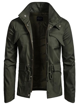 Plain Zipper Pocket Men's Casual Jacket