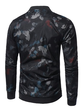 Tidebuy Stand Collar Floral Zipper Men's Thin Jacket