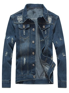 Tidebuy Lapel Hole Worn Men's Denim Jacket