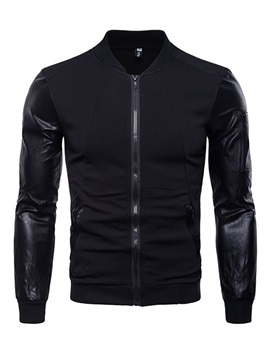 Tidebuy Leather Patchwork Zipper Men's Stylish Jacket