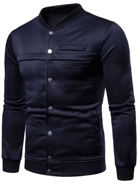 Tidebuy Plain Single-Breasted Men's Jacket