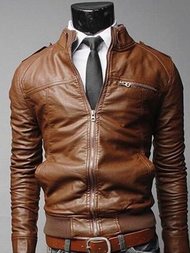 Tidebuy Plain Zipper Stylish Pocket Men's Leather Jacket