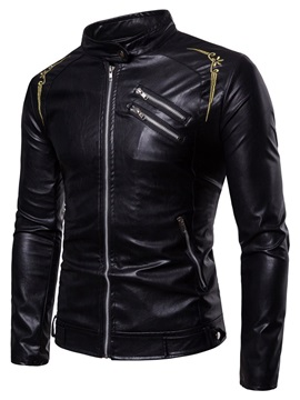 Stand Collar Black Floral Embroidery Men's Leather Jacket