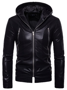 Hooded Plain Zipper Men's Leather Jacket