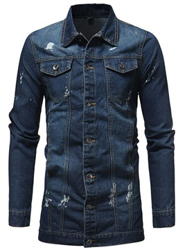Lapel Stylish Mid-Length Men's Denim Jacket