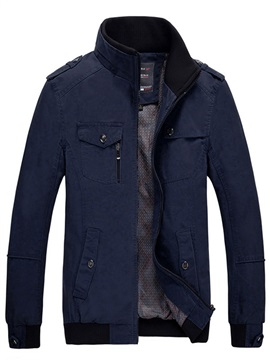 Stand Collar Plain Pocket Zipper Men's Casual Jacket