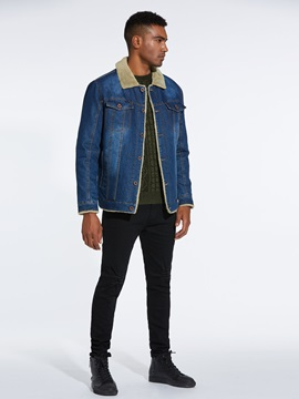 Lapel Pocket Single-Breasted Warm Men's Denim Jacket