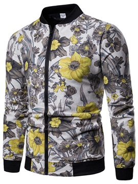 Floral Print Stand Collar Zipper Men's Jacket
