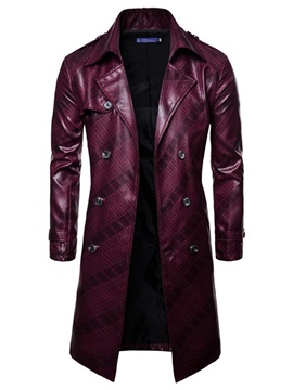 Lapel Plain Double-Breasted Men's Trench Coat