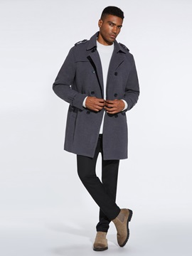 Double-Breasted Plain Mid-Length Men's Trench Coat