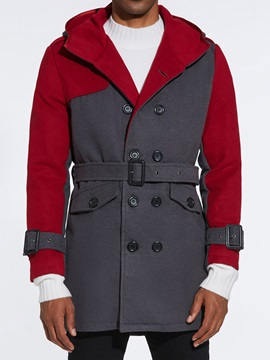Color Block Hooded Double Breasted Men's Trench Coat