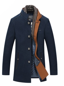 Plain Patchwork Stand Collar Single-Breasted Men's Jacket