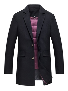 Plain Notched Lapel Men's Casual Wool Coat