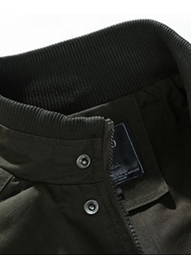 Plain Stand Collar Pocket Men's Zipper Jacket