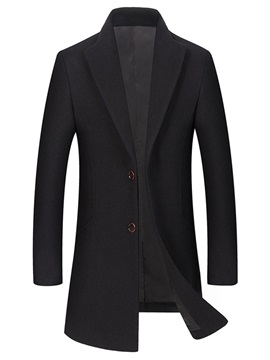 Plain Lapel Single-Breasted Men's Wool Coat